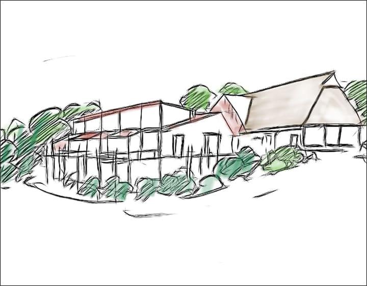 Haupthaus mit Ausbauten